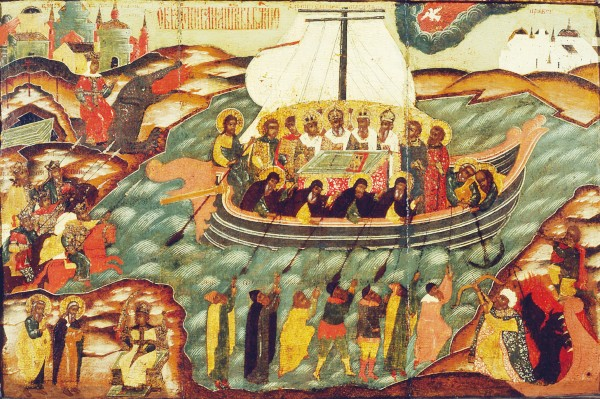 Икона Корабль веры над входом церкви Богоявления Господня в Богоявленском Мстерском монастыре