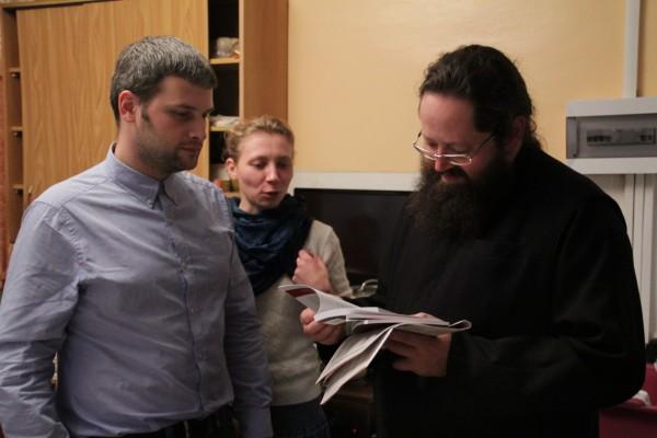 Во время встречи с паломниками, членами молодёжного «Круга» Преображенского братства