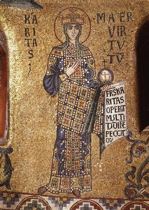 Добродетель благотворительности.  Мозаика в куполе собора Святого Марка (Венеция), XII в.