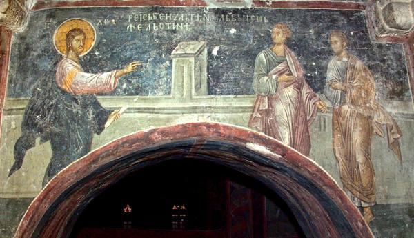 Филипп приводит ко Христу Нафанаила (Ин 1:45).  Сербия, Дечаны. XIV в.