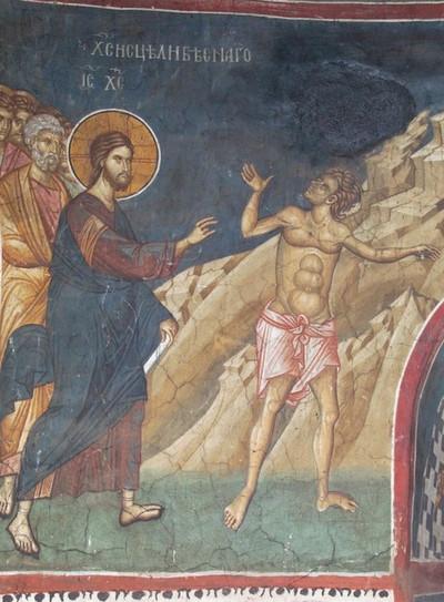 Чудо исцеления бесноватого (Мк 1:21-28). XIV в. Роспись алтарной апсиды, монастырь Высокие Дечаны