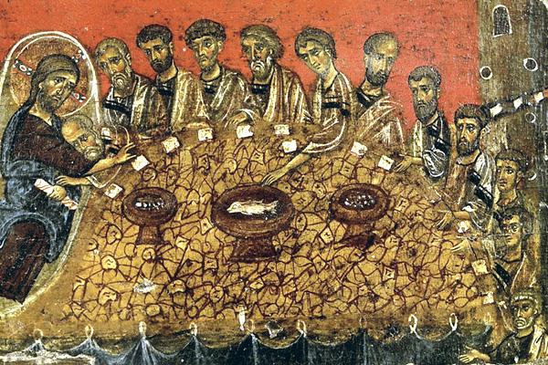 Тайная вечеря. Икона из монастыря Ватопед (Афон). XIII в.