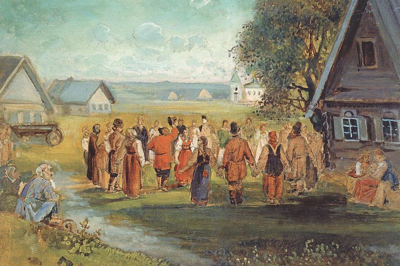 Алексей Саврасов. Хоровод в селе