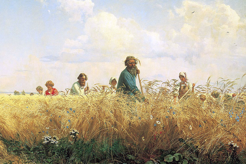 Страдная пора.Косцы. Григорий Мясоедов, 1887 г.